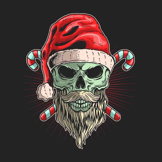 Đầu lâu ông già Noel với đồ họa minh họa râu vector Premium