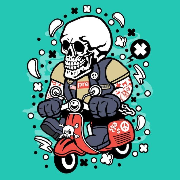 Skull scooterist cartoon Premium Vector