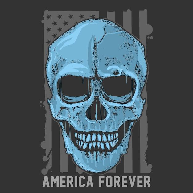 Skull simple grunge america usa flag artwork vector Premiumベクター