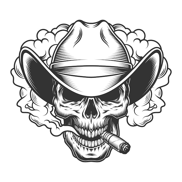 Skull in smoke cloud Free Vector