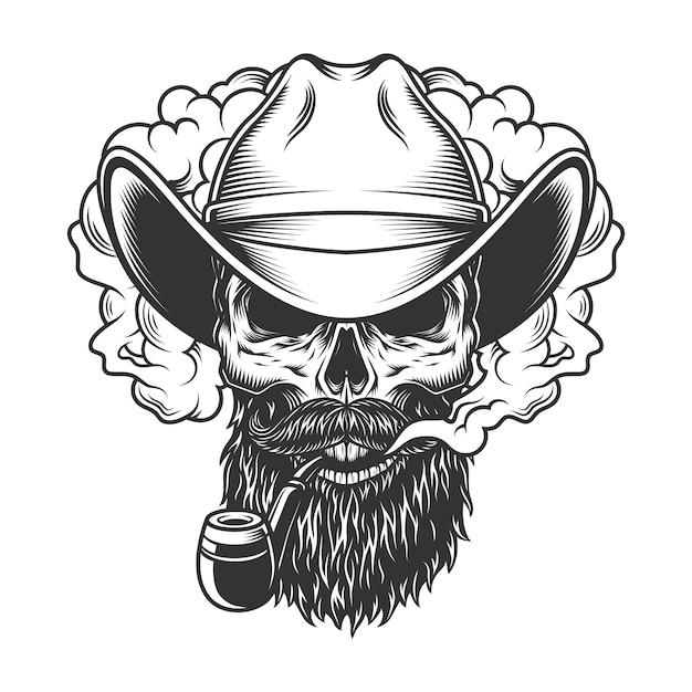 Skull in smoke cloud Free Vector