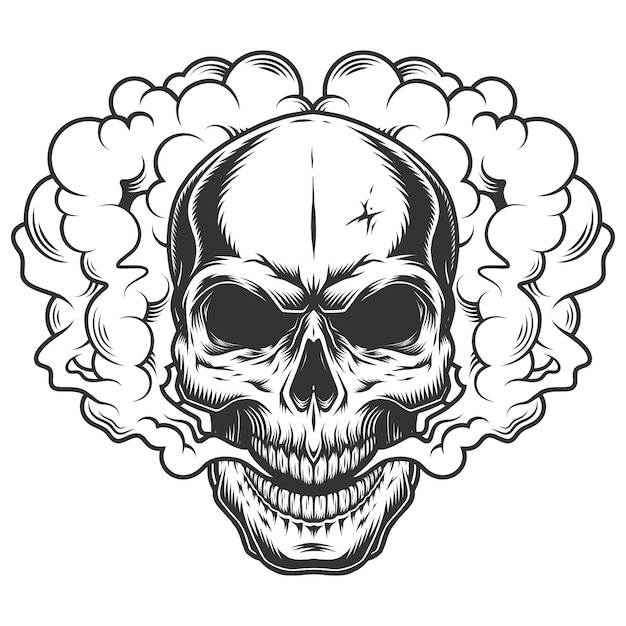 Skull in the smoke Free Vector