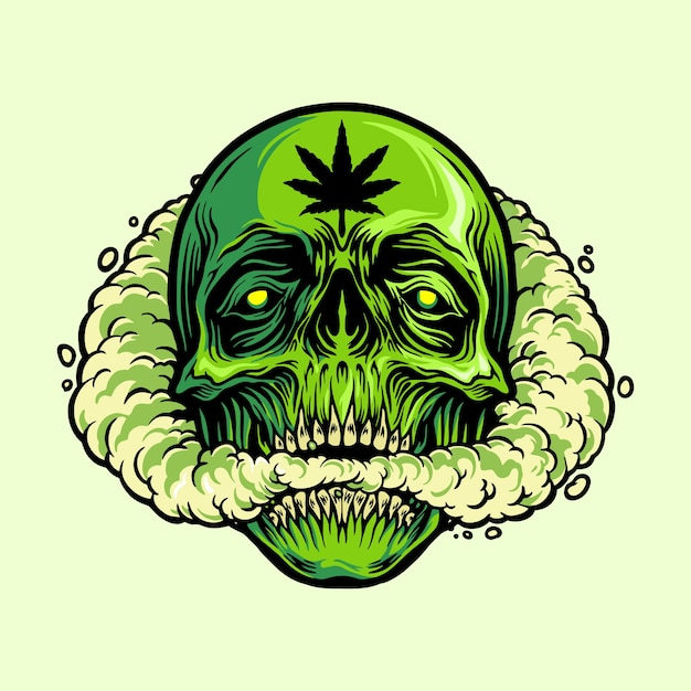 マリファナのマスコットを吸う頭蓋骨 Premiumベクター
