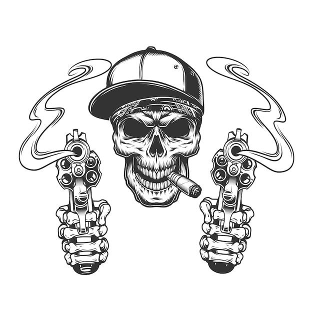 Cranio che fuma sigaro in berretto da baseball Vettore gratuito