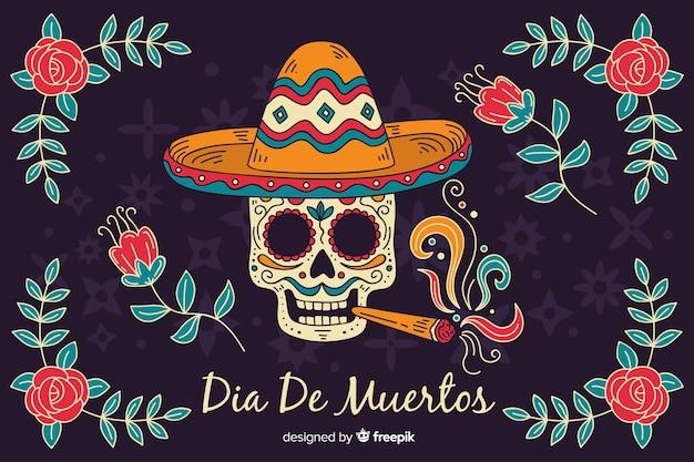 Skull smoking a cigar hand drawn día de muertos background Free Vector