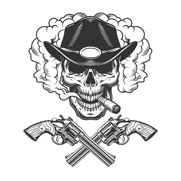 Skull smoking cigar in sheriff hat Free Vector