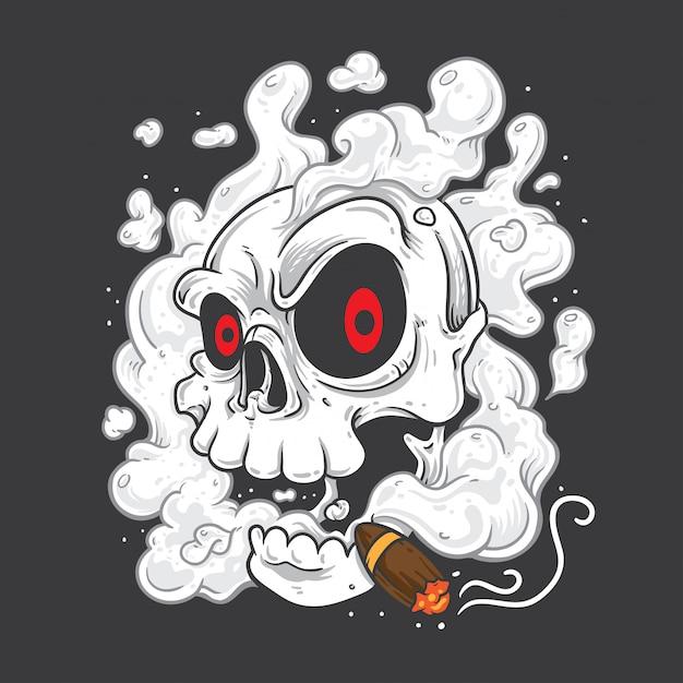 Skull smoking cigars Premium Vector