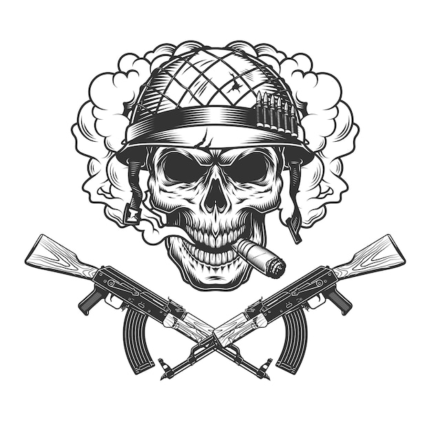 Skull in soldier helmet smoking cigar Free Vector