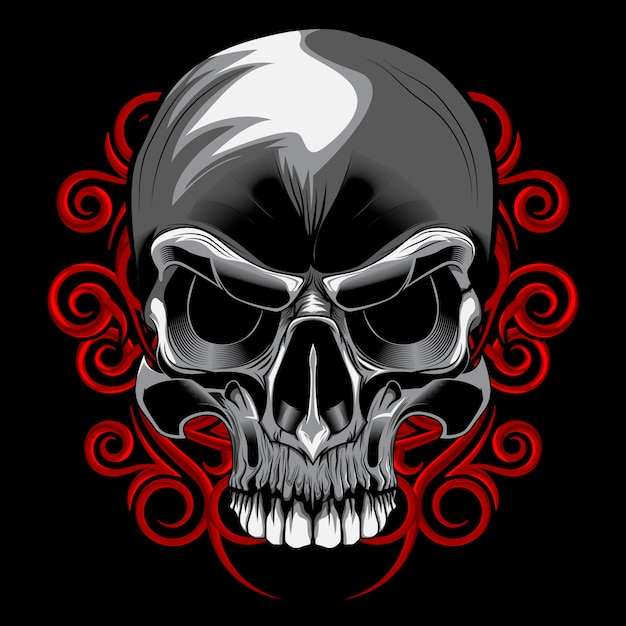 Skull spiral floral vector Premium Vector