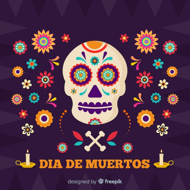 Skull surrounded by flowers día de muertos background Free Vector