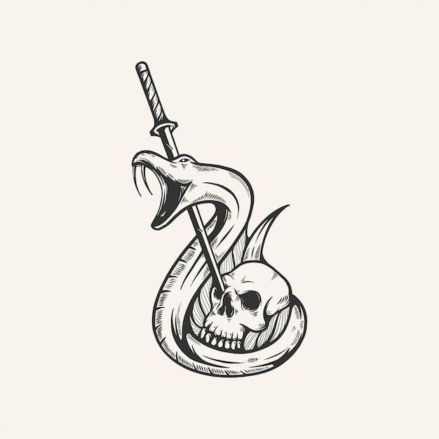 頭蓋骨剣ヘビビンテージイラスト手描き Premiumベクター