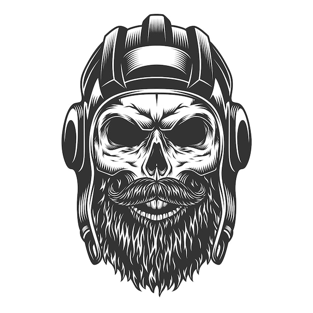Skull in the tank helmet Free Vector