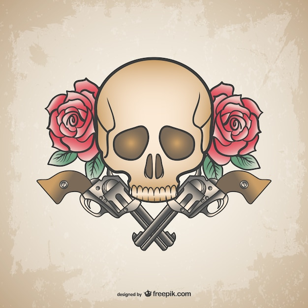 Skull Tattoo Guns And Flowers Design Vector Free Download