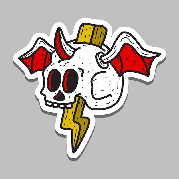Шаблон стикера татуировки черепа Premium векторы