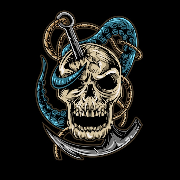 Skull tentacle anchor   illustration design isolated Premium Vector