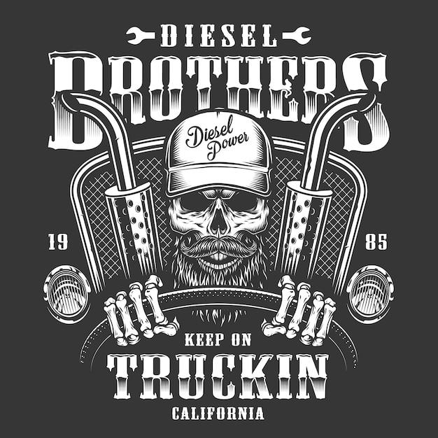 Skull trucker print Free Vector
