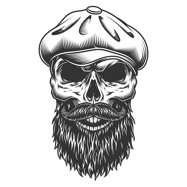 Skull in the tweed hat. Free Vector
