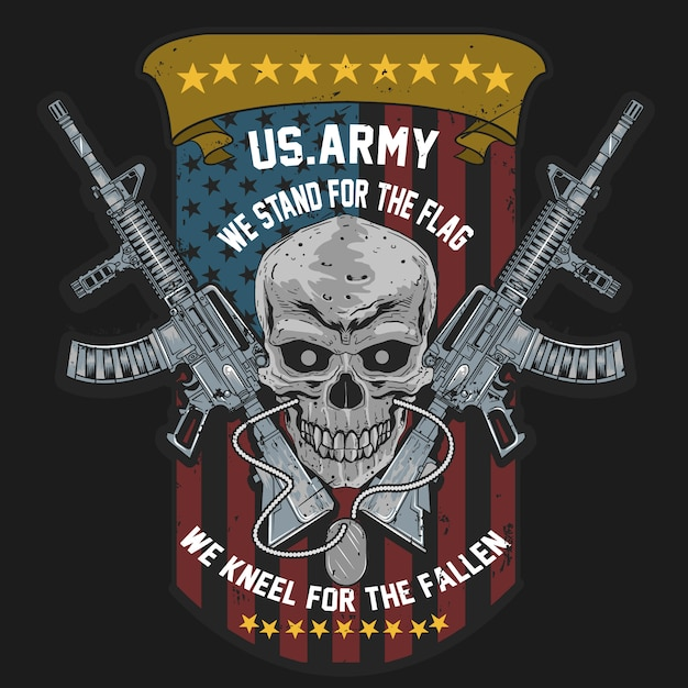 Skull usa american soldier with weapon and usa flag Premium Vector