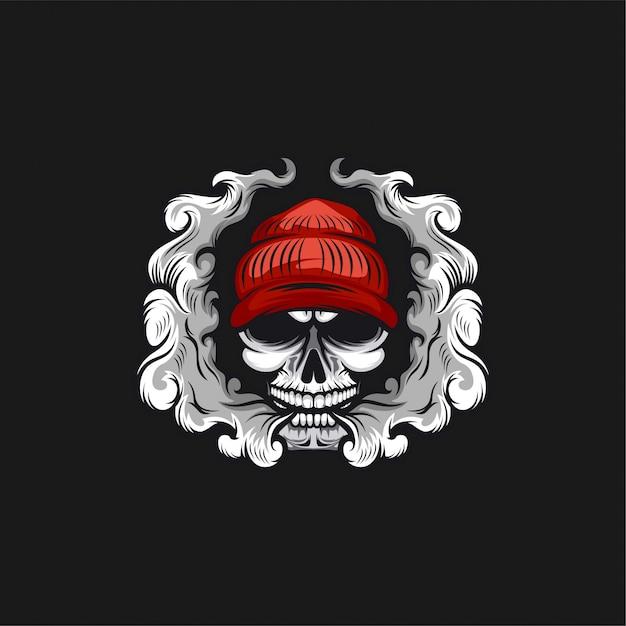 Skull vape logo design illustration Premium Vector