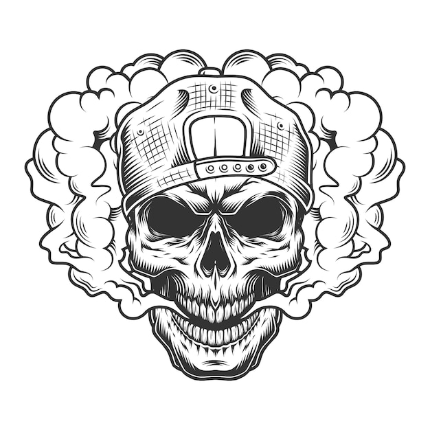 Skull vaper concept Free Vector