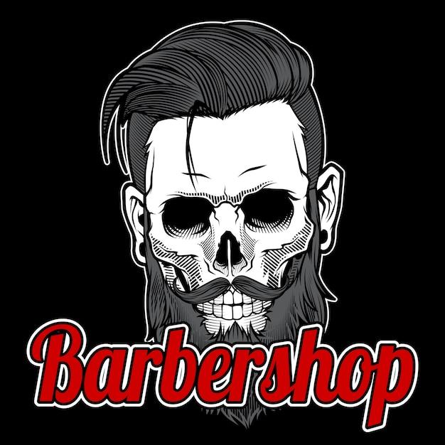 Skull vintage barber shop logo design Premium Vector