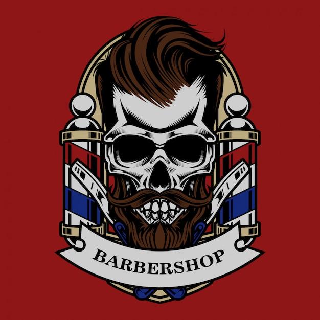 Skull vintage barbershop illustration and tshirt design Premium Vector