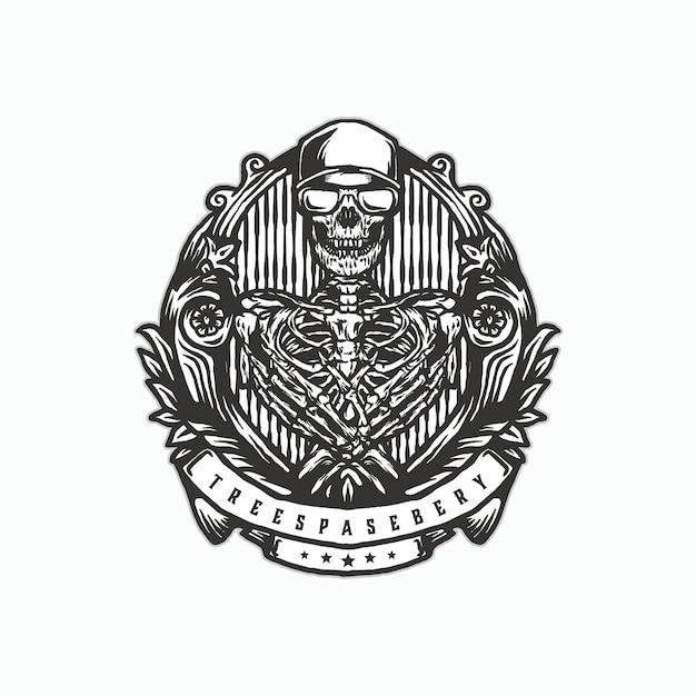 Skull vintage logo Premium Vector