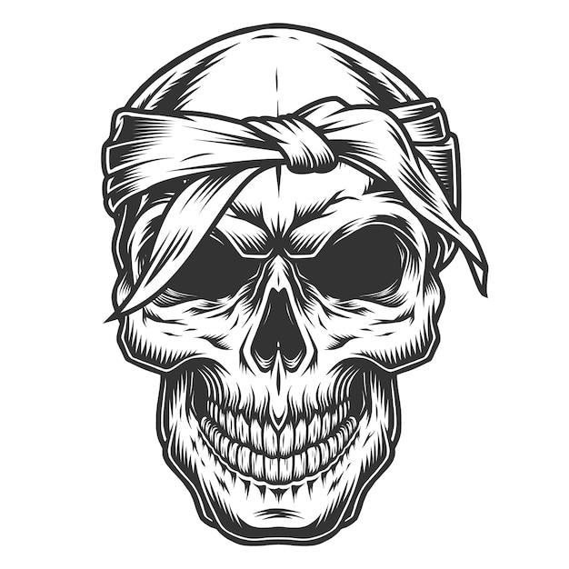 Skull in vintage stule Free Vector