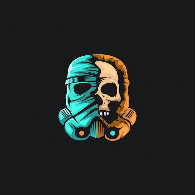 Skull war helmet Premium Vector