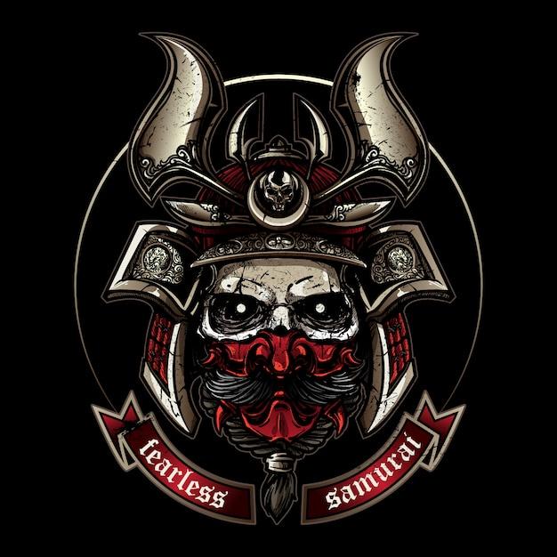 Skull wearing classic samurai helmet in hand drawing style Premium Vector