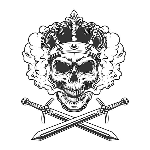 Skull wearing crown in smoke cloud Free Vector
