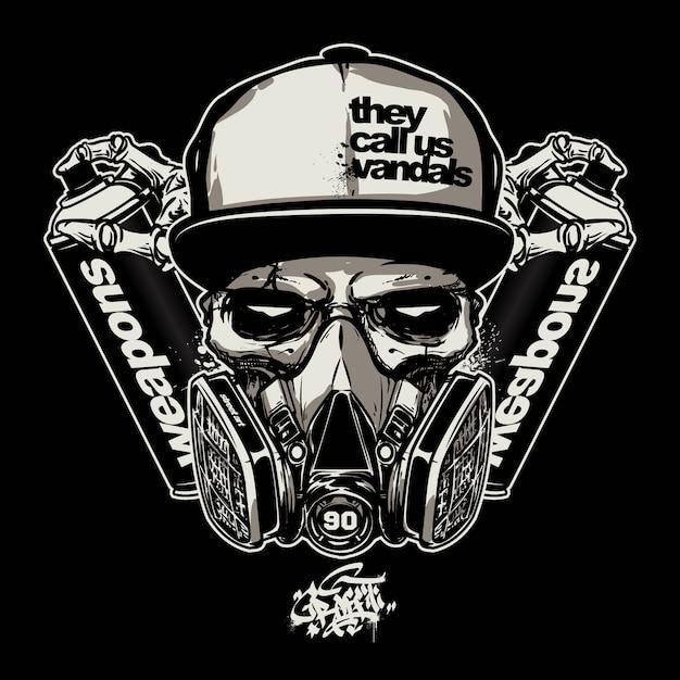 Premium Vector Skull Wearing Gas Mask For Graffiti Logo