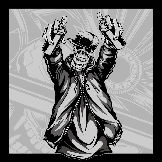Skull wearing a hat holding spray paint skull wearing a hat holding spray paint Premium Vector