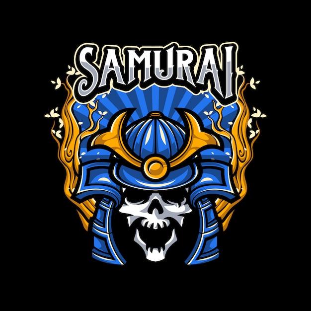 Skull wearing samurai helmet illustration Premium Vector