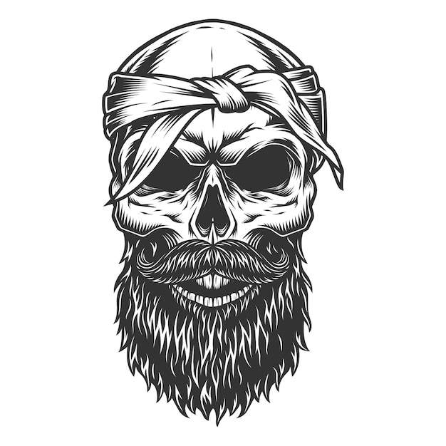 Skull with beard and mustache Free Vector