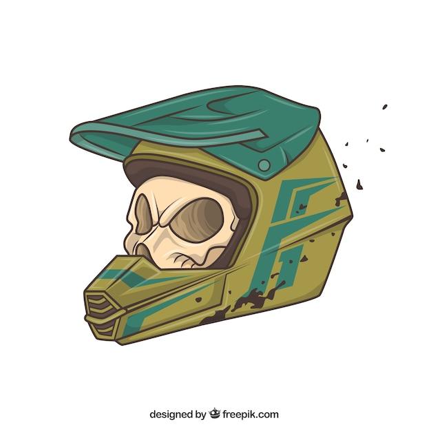 Skull with biker helmet Free Vector