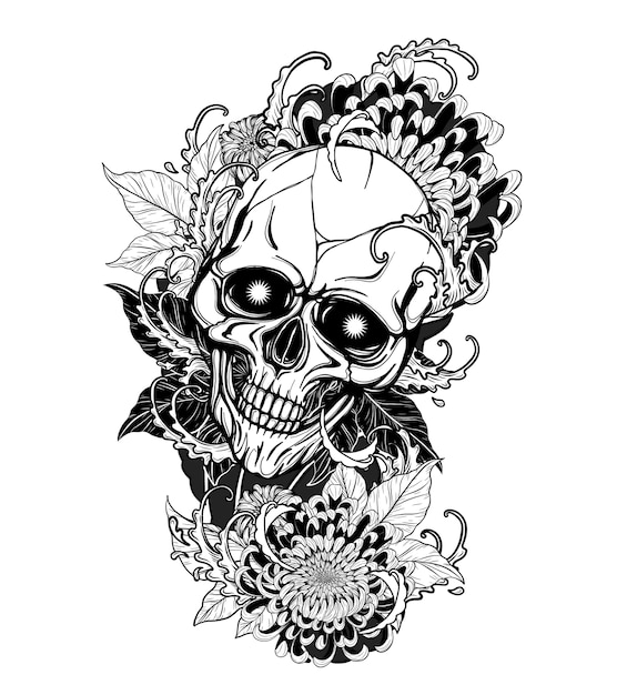 Skull with chrysanthemum tattoo by hand drawing Premium Vector