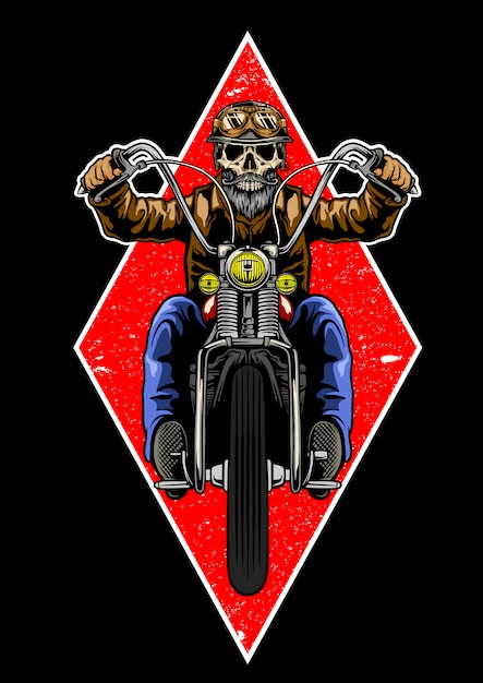 Skull with classic helmet and beard riding motorcycle Premium Vector