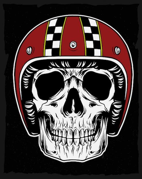 Skull with classic helmet Premium Vector