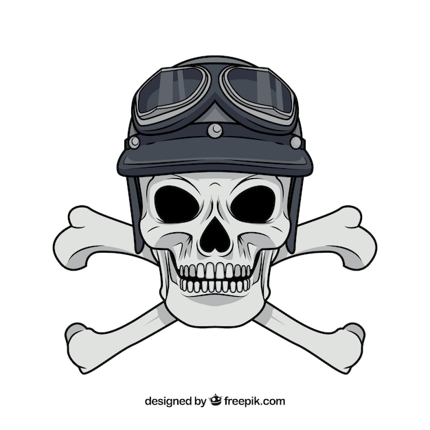 Skull with cross bones and hat Free Vector