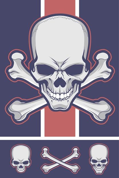 Skull with crossbones. Premium Vector