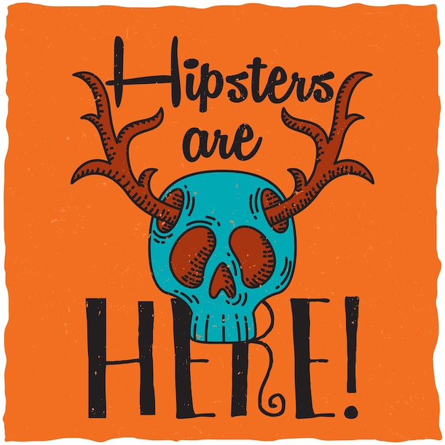 Skull with deer horns, hipster theme illustration. Free Vector