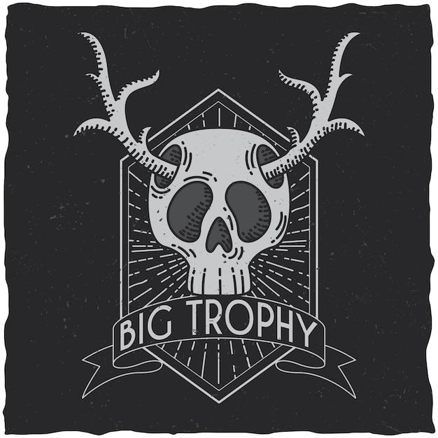 Skull with deer horns t-shirt label design. hipster theme illustration. Free Vector