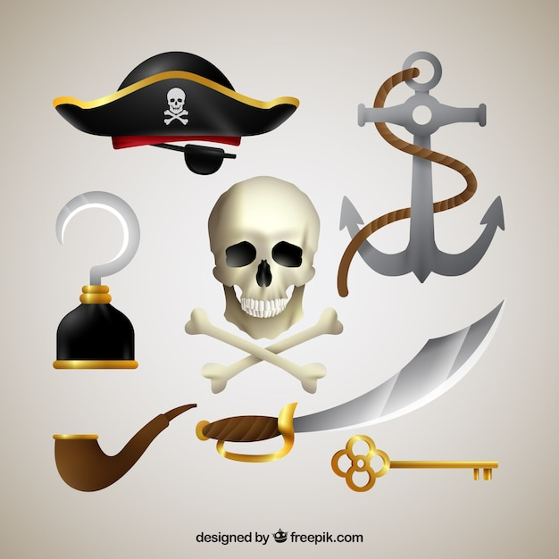 Skull With Elements Of Pirates Vector Free Download