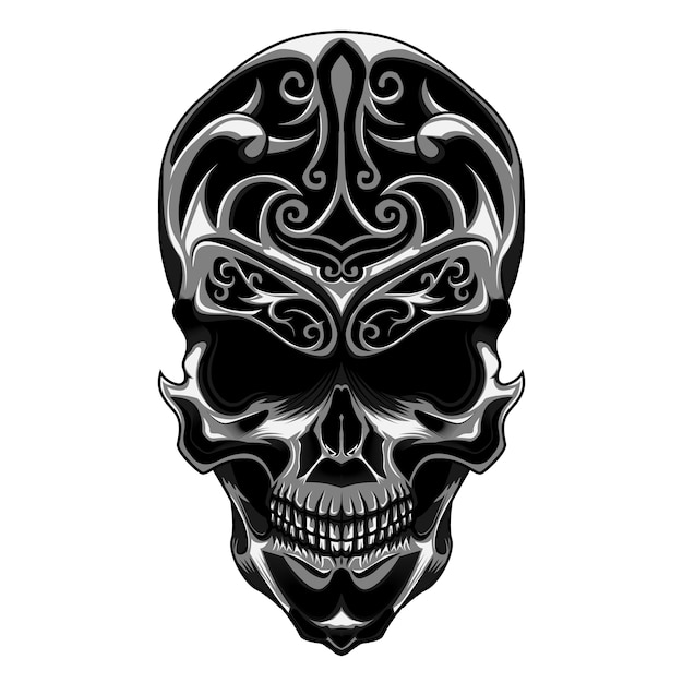 Skull with floral carve Premium Vector