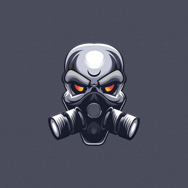 Skull with gas mask design. esport logo   Premium Vector