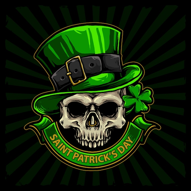 Skull with green hat and four leaf clover for st patrick day hand drawn vector Premium Vector