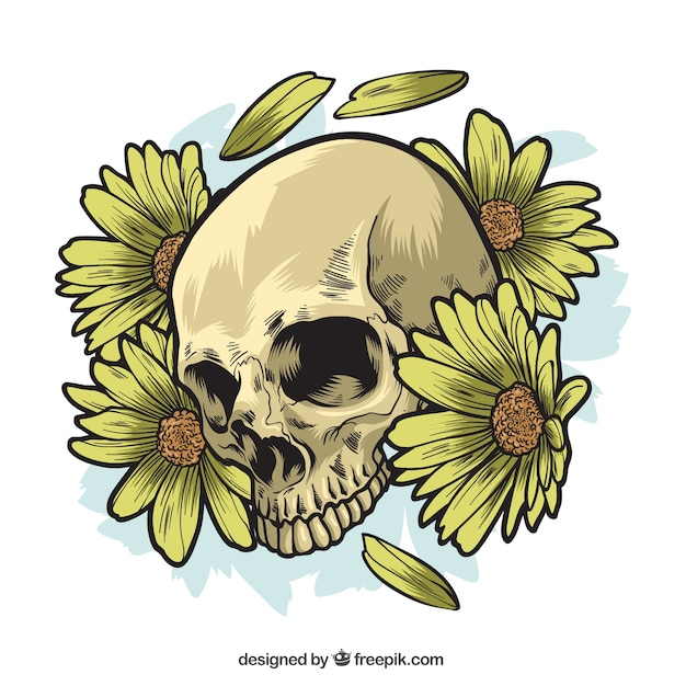 Skull with hand drawn daisies Free Vector