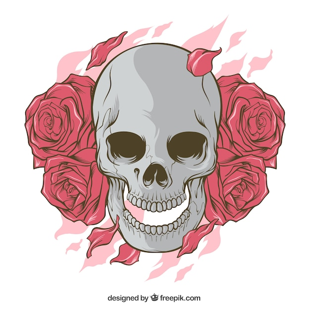 Skull with hand drawn roses Free Vector