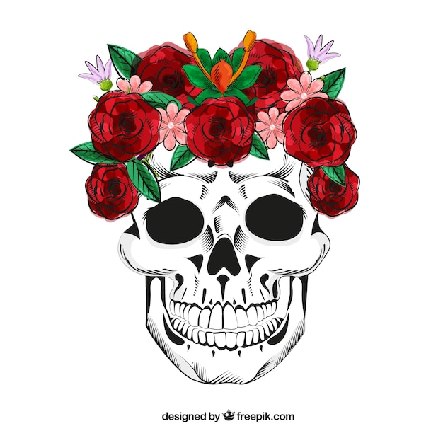 Skull With Hand Drawn Roses Vector Free Download